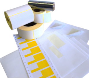Étiquettes en bobines et planches 1 ou 2 couleurs