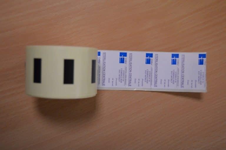 Étiquettes bobine stérilisation imprimées